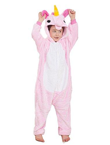 Nicetage Unisexe Enfant Pyjamas Grenouillère Cosplay costume Onesie Animal en Flanelle Fille Garçon - 3-11ans - Couleurs et Tailles au choix Pink 105