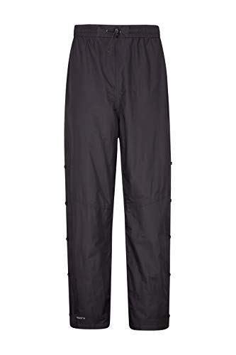 Mountain Warehouse Downpour Wasserfeste Herrenhose – Atmungsaktive Hose, versiegelte Nähte, Netzfutter, schnelltrocknend – Ideal für Wandern und Trekking Schwarz X-Small   05052776109536