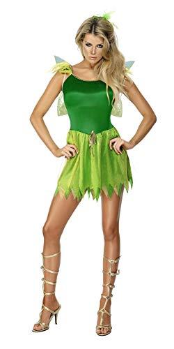 SMIFFYS Costume da fata dei boschi, verde, con abito, copricapo e ali