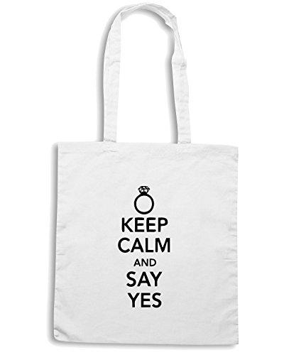 T-Shirtshock - Borsa Shopping MAT0048 Keep Calm And Say Yes Maglietta Bianco