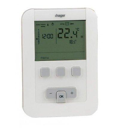 Hager Sas - Thermostat ambiance programmable - à piles LR6 - HAGER SAS : EK570