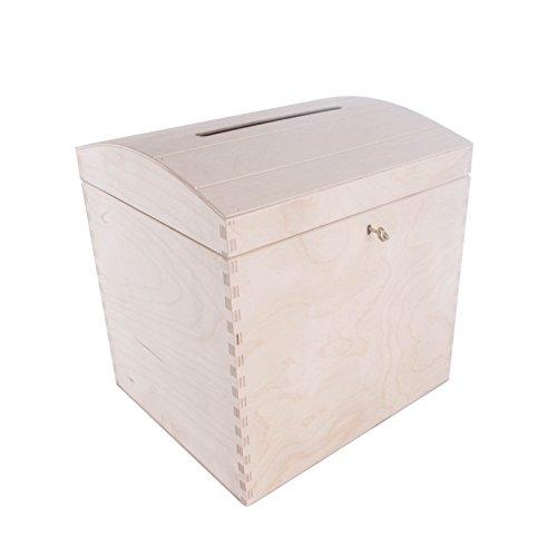 SEARCHBOX Großer abschliessbarer Briefkasten Schatztruhe aus Holz mit Schlitz/Wishing Well Hochzeit/29x 25x 30cm