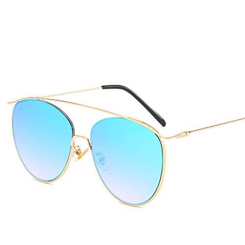 Yangjing-hl Sonnenbrillen Mode Zustrom weibliche ovale Sonnenbrille Unisex reflektierende Sonnenbrille Goldrahmen blauen Film