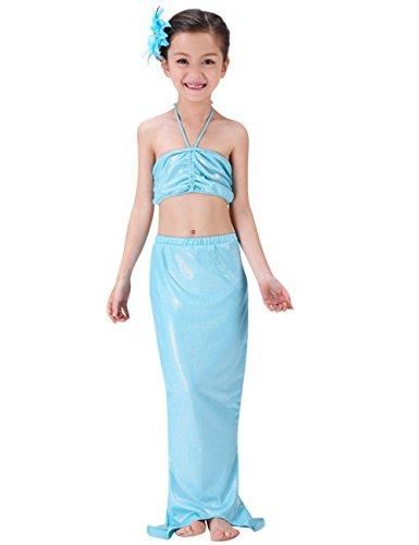 Le SSara LittleGirls'MermaidTailBikini3pezzicostume da bagnospiaggiacostumi da bagnodibalneazione (7-8 anni, B-blu)