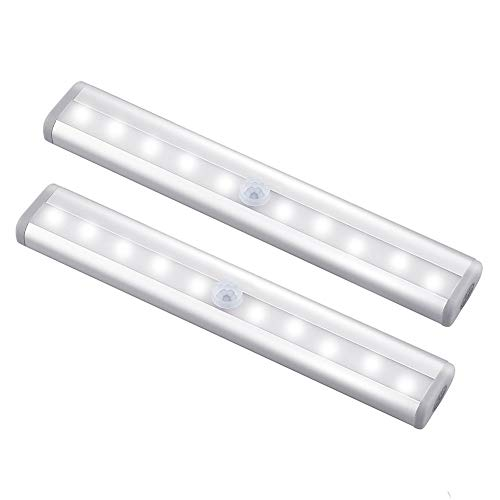 lovelyhome 10 LED Bulbs Battery Operated Wireless Portable Magnetic Security Stick Up Motion Sensor Night Lights for Closets, Hallway Stairway (Set of 2, Warm White)