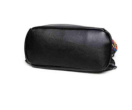 Frauen-Stickerei Rucksack Persönlichkeit Mode Reisetasche Ribbon PU Schulter Rucksack (schwarz) Black1