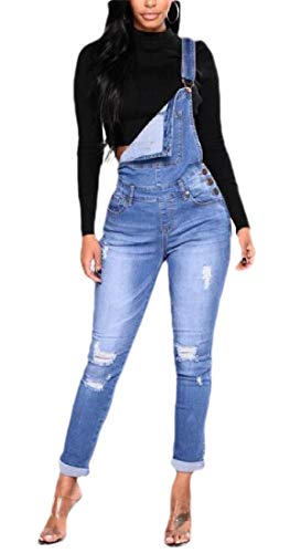 Gocgt Damen Ripped Skinny Jeans Latzhose Jeansanzug Gr. X-Large, 1 -