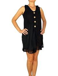 07718 vestido de lino 100% lino, disfraz de túnica de la mujer, Beige