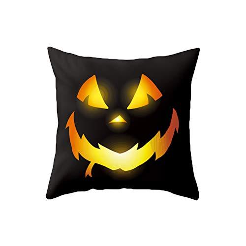 OUNONA Fundas de almohada de Halloween Devil Smile Funda de cojín Lovely Halloween Gift for Home Garden Room Decor (Decor Garden Halloween)