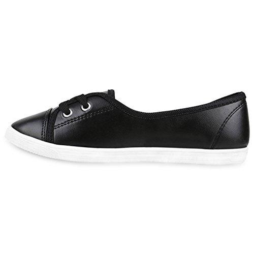 Damen Ballerinas Sportliche Stoffschuhe Slipper Flats Schwarz Black