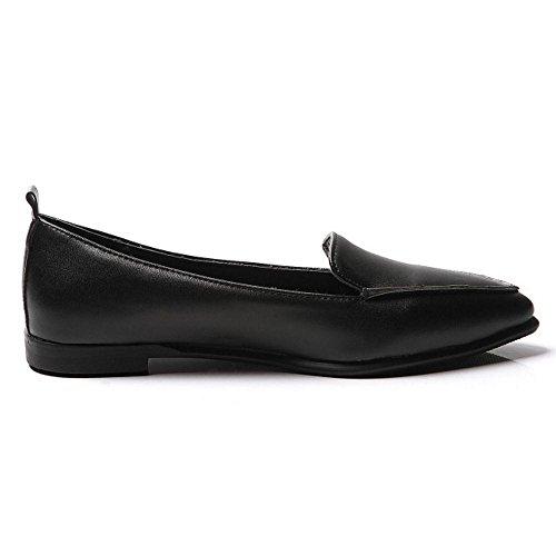 TAOFFEN Damen Leisure Ohne Verschluss Flach Pumps Gem¨¹tlich Loafers Schuhe Schwarz