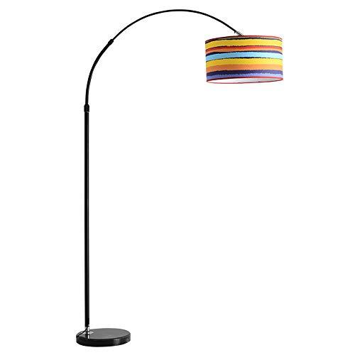 DelongKe Moderne Stehleuchten Classic Arc Mit Hängelampenschirm, Für Wohnzimmer Schlafzimmer Büro Lounge Energiesparende Stehlampe Schwarz E27 (Ohne Glühlampe),rainbowblack -