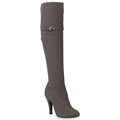 Damen Stiefel High Heels Schnallen Elegante Klassische Schuhe 146342 Grau 40 Flandell