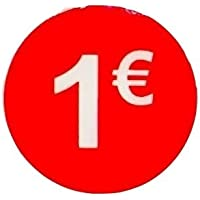 Pegatina 1 € Euro, Pack de 1000, adhesivo 35 mm Rojo, etiqueta precio (Price stickers), DiiliHiiri