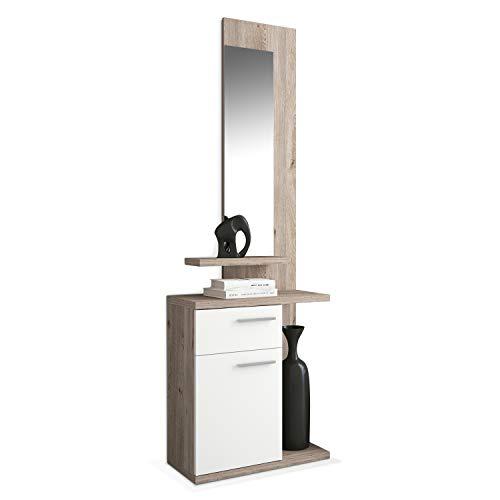HomeSouth - Recibidor con un cajón y una Puerta, Mueble de Entrada con Espejo Acabado en Blanco y Nelson, Modelo Enter, Medidas: 60,5 x 68,5 x 27,8 cm de Fondo
