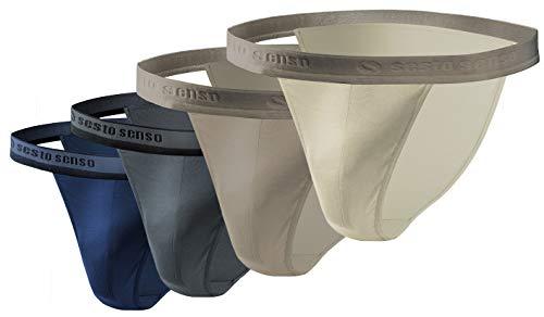 Sesto Senso® Slip Herren Tanga Baumwolle 1er 2er 4er Pack Sexy Unterhosen Basic Unterwäsche für Männer (S, 4 - Beige +) (Bikini Pack Herren-unterwäsche)