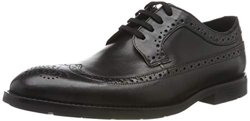 Clarks Men's Ronnie Limit Brogues, Schwarz (Black Leather), 46 EU