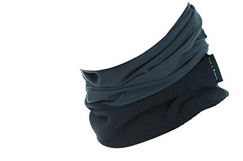 Hilltop Polar Multifunktionstuch mit Fleece, Motorrad Halstuch / Schlauchschal / Ski Gesichtsmaske / TOP Farben, Farbe Polar Tuch:Grau uni mit schwarz