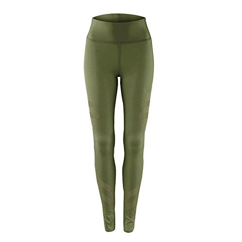 GITVIENAR Pantalon de Sport Femme Slim Legging Stretch Moulant pour Yoga Danse Gymnastique Jogging à la Mode Vert Armée