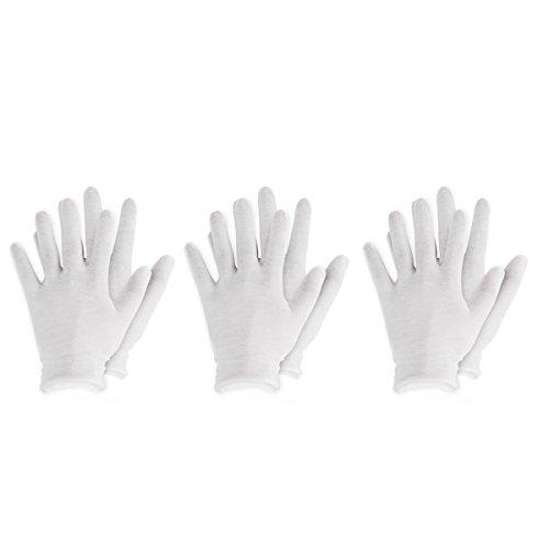 Agoky Weiße Handschuhe aus Baumwolle Karneval Fasching Kostüm Zubehör 3 Paar/6 Paar/12 Paar Weiß 3 Paar One_Size
