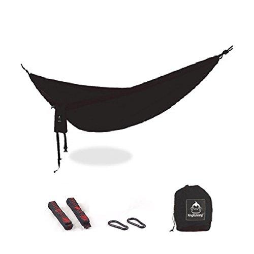 DIAOHXY Lightweight Camping hamac,440lbs Capacité de Charge Très léger Parachute Nylon Portable hamac pour randos De Plein air Arrière-Cour-Noir 270x100cm(106x39inch)
