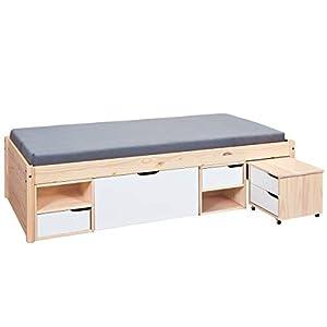 Inter Link Alpine Living Bett Funktionsbett Doppelbett Liege Bed Stauraumbett Kiefer massivholz Natur lackiert BxHxT: 209 x 48 x 146 cm
