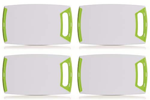 4er Set Schneidebrett eckig mit Griff, Kunststoff weiß/grün, in 3 Größen lieferbar, Servierbrett, Zeller (4X klein 25x15cm)