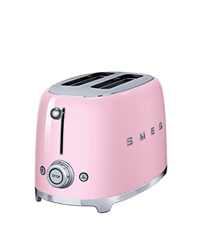 SMEG 2 Slice Toaster Retro 50's Extra Wide / Bagel (Pink / 2 Year Warranty)