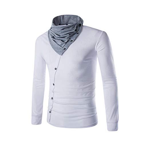 DNOQN Polo Shirt Männer Langes Sportshirt Männer Stehkragen Stilvolle Passform Lässige Baumwoll T-Shirts Warmes Hemd Langarmshirts XL