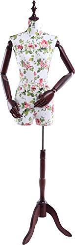 TonHan B4-0 weibliche Schneiderpuppe, stoffbezogenen Oberkörper mit Deckel aus Holz, Arme und Finger ebenfalls aus Holz. Beliebig verstellbar, dunkler Holzstand (Schaufensterpuppe Torso Mit Armen Männlichen)
