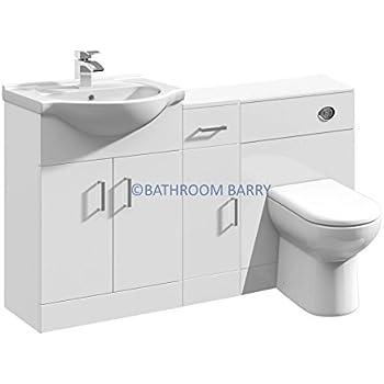 1300mm Modular High Gloss White Bathroom Combination Vanity Basin Sink  Cabinet, Cupboard Unit, WC