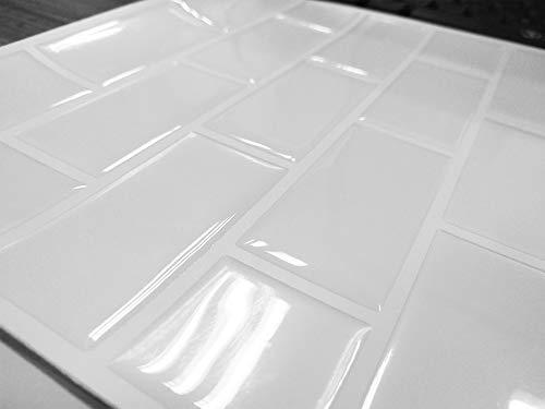 Carrelage Mural Adhésif - (10 Pièces 22 x 22 cm) - 3D Autocollant Mural Imperméable Auto-adhésif en Forme de Brique la Salle de Bain la Cuisine Blanc