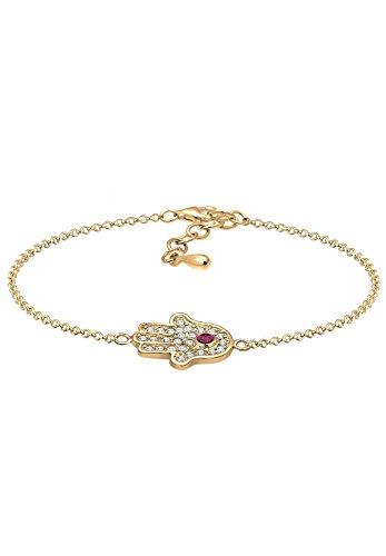 amsa Hand Zirkonia silber 925 Synthetischer Rubin rosa 0212271615_17 - 17cm Länge ()