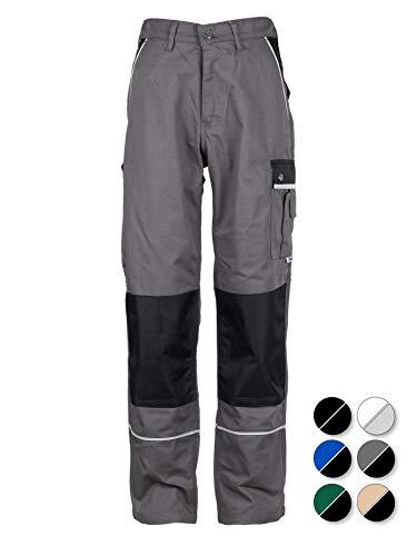 TMG® - Herren Bundhose/Cargohose mit Kniepolstertaschen - strapazierfähig - Grau (W42 R / EU58) (Strauß Natürliche)