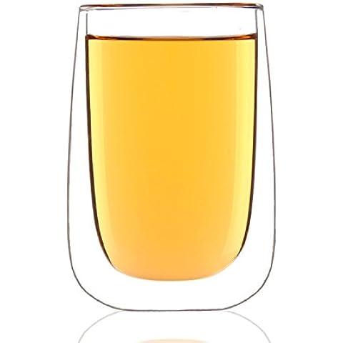 ArtSu in vetro a doppia parete tumbler, trasparente, ovale, 380ml/13ml, Set di 4