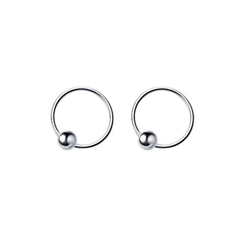 Piccoli orecchini a cerchio in argento Sterling da 20 g, per trago, cartilagine, naso, setto nasale, 8 mm, 10 mm e Argento, colore: Silver, cod. E228