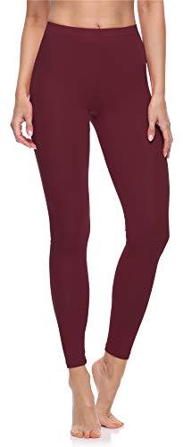 Merry Style Damen Lange Leggings aus Baumwolle MS10-198 (Wein, XL)