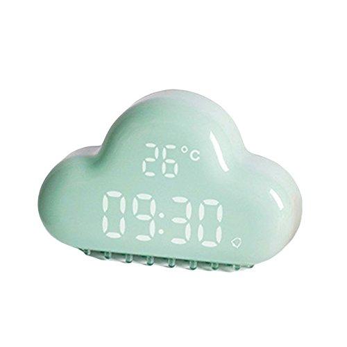 Nrpfell Despertador Digital de la Nube, Control tactil USB Recargable Control de Sonido Calendario electronico de la Temperatura 3D Reloj Digital Inteligente