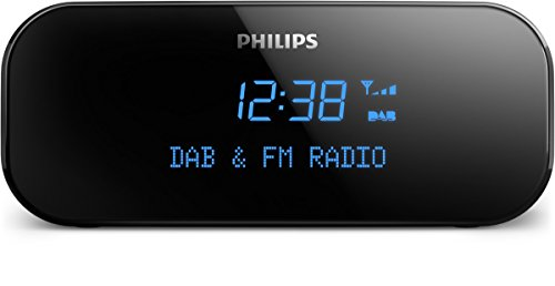 Philips AJB3000 Uhrenradio mit DAB plus (Digital FM, Sleep Timer, Dual Alarm, Snooze) schwarz