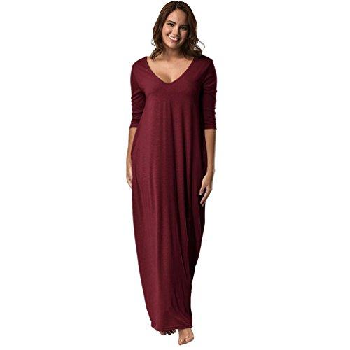Kanpola Damen Nachthemden Kleid Lang Große Größen Locker Winter Worm Baumwolle Bademäntel Morgenmäntel Elegant Schlafanzüge Nachtwäsche (Rot, 2XL/44) (Seiden-baumwoll-kleid)