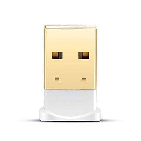 CSL - USB Adaptateur Bluetooth V4.0 avec DEL | Dongle | Class 4.0 Technologie | Standard le plus récent | Plug & Play | compatible Windows 7, 8, 8.1 + 10 | blanc