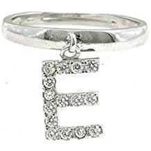Anello con lettera E pendente a zirconi bianchi in argento 925