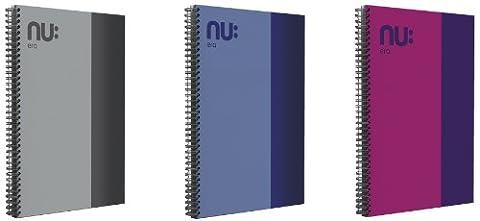 Nu Era Cahier à spirale Couverture rigide Bicolore A6 ordinateur portable-Gris/rose/bleu