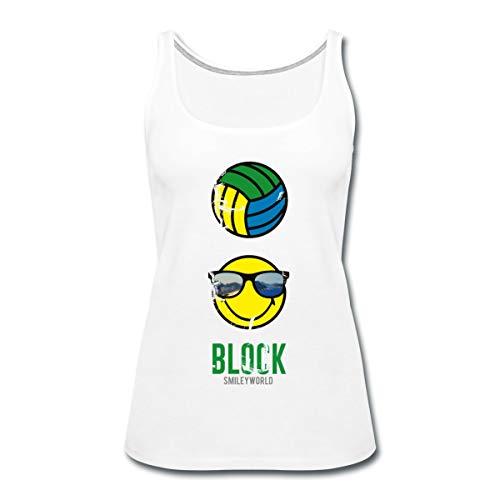 Spreadshirt Smiley World Block Beach Volleyball Frauen Premium Tank Top, M (38), Weiß