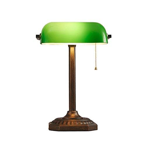 Antike Banker Lampe (ZIB-Lampen-Tischlampe für Schlafzimmer Wohnzimmer Traditionelle antike Messing und grüne Banker Schreibtisch Lesetischlampe (ohne Birne) Leselampe für Zuhause, Büro, Studium, Arbeit)