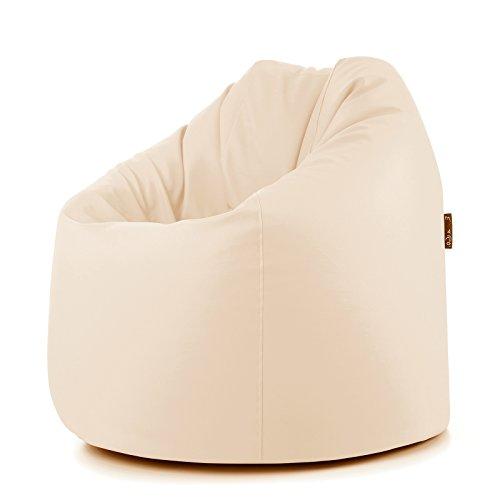 Tera pouf pouff puff puf sacco morbido ecopelle beige 78x78x93 cm arredameno casa moderna disponibile in 10 colori a scelta variante su cabshop (beige)