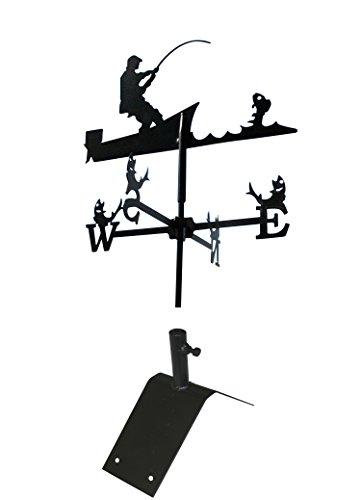Svenskav Wetterfahne Windspiel Angler klein 45 x 72,5 cm, inkl. Dachfirst-Träger