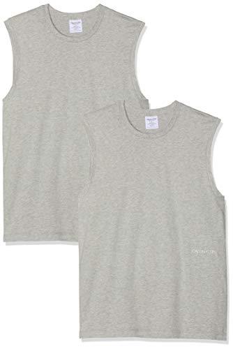 Calvin Klein Herren Muscle Tank 2PK (Unisex) T-Shirt, Grau (Grey Heather 080), Large (Herstellergröße: L) -