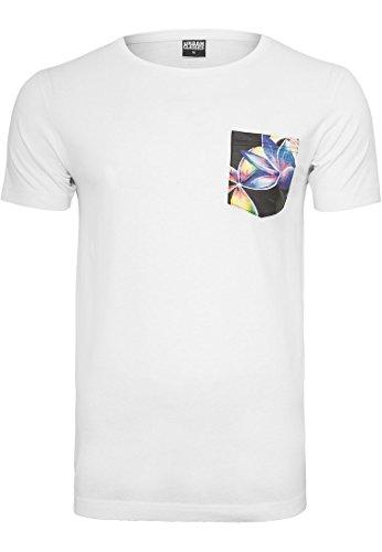 Urban Classics Herren T-Shirt Contrast Pocket Tee white floral