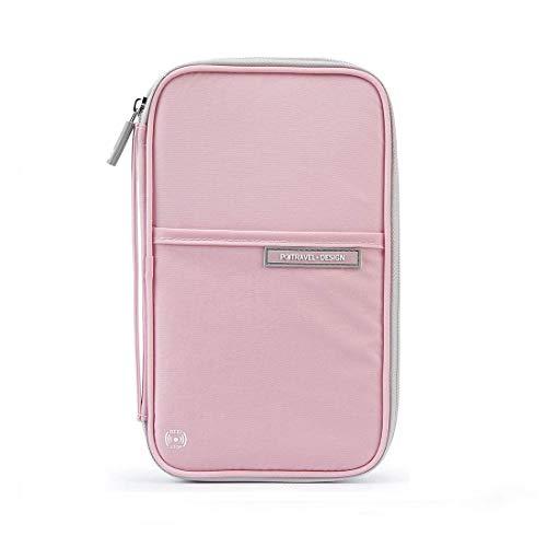 Rosa Tasche Organizer (Reisebrieftasche mit RFID für Männer Frauen,Schutz Reiseorganizer Mappe Reisepass Reise-Dokumente Tasche Kreditkarten-Halter Ausweistasche mit Reißverschluss-Fächern für Pass (Rosa))